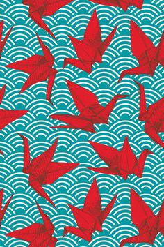 Cranes origami by ekaterinap Turquoise scales and waves on the ocean on fabric, wallpaper, and gift wrap.  Hand drawn abstract geometric Japanese origami in bright red and turquoise.