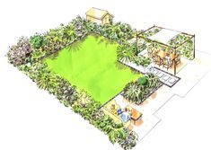 Now over 12 years old, this #TBT #garden #illustration shows a great #familygarden space with two terraces and a cracking #waterfeature #TBT #EarthDesigns #GardenIdeas #garden #gardening #drawing #illustration