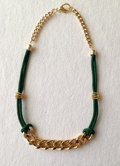 collana in corda verde con catena groumette oro on etsy 1500 - Handmade Jewelry Design Ideas