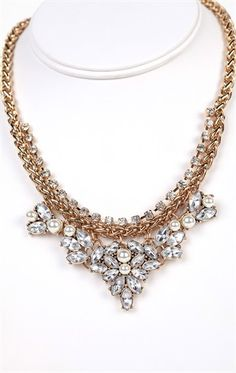 Deb Shops Short Statement Necklace with Fancy Stone and Pearl Design $10.12