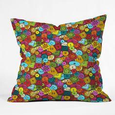 Sharon Turner Graffiti Buttons Throw Pillow