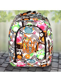 Gray Chevron Owl Party Large Backpack with Brown Trim