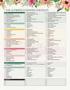 The Ultimate House Cleaning Checklist Printable PDF Home Management Housekeeper Maid Service Chore List Spring Deep Cleaning Honey-Do Deep Cleaning Tips, Cleaning Solutions, Cleaning Hacks, Diy Hacks, Cleaning Supplies, Cleaning Checklist Printable, House Cleaning Checklist, Cleaning Schedules, Cleaning Routines