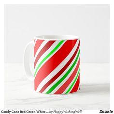 Candy Cane Red Green White Stripes Festive Coffee Mug