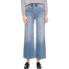 Marc by Marc Jacobs Crop Wide Leg Jeans ($280) ❤ liked on Polyvore featuring jeans, authentic blue with piping, high waisted jeans, high-waisted jeans, zipper jeans, high waisted wide leg jeans and blue jeans