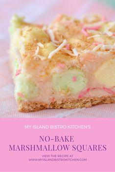 Vanilla Coconut Marshmallow Squares - My Island Bistro Kitchen Candy Recipes, Sweet Recipes, Baking Recipes, Cookie Recipes, Dessert Recipes, Dessert Ideas, Bar Recipes, Cookie Desserts, Yummy Treats