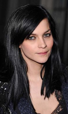 Leigh Lezark dark hair at winter fashion week-- super shiny glossy finish on her jet black locks, straight hair with sweeping fringe. http://www.hji.co.uk/blogs/celebrity-hair/2012/02/