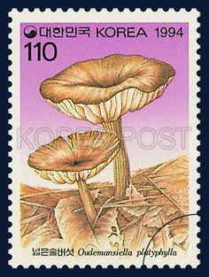 Mushroom Series(2nd), Oudemansiella platyphylla, Mushroom, light purple, lilac, Deep Yellow, Dark Brown, 1994 05 30, 버섯시리즈(두번째묶음), 1994년 5월 30일, 1761, 넓은 솔버섯, Postage 우표