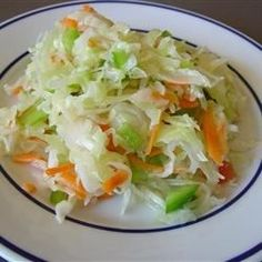 I live in a wonderful Amish community and the ladies here are wonderful cooks. This is a lovely cole slaw recipe for those who like slaw without mayonnaise.