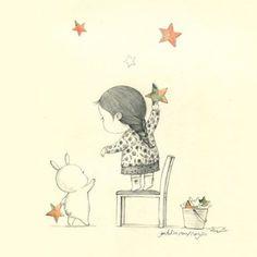 별.별.별. Star star star #star #stella #sky #cielo #illustration #coniglio #grafolio #drawing #girl #sogno #dream #chair #yellow