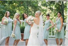 mint green bridesmaid dresses / onelove photography