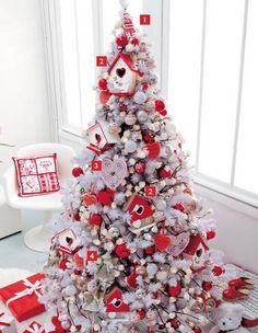 Red White Christmas Tree Decor