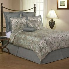 8-Piece Venice King Bed in a Bag by Canyon Crest by 100% pure. $79.99. Contemporary ice blue mixed with steel Grey, combined with a traditional medallion scroll makes this bedding refreshingly cool and elegant.Solid Light blue euro shams provides an exquisite back ground for a medallion printed jacquard shams. The comforter is done with the same fabric as shams, 200- thread count percale woven sheets completes the bedding and finally two decorative pillows fini...