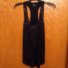 EXPRESS  SEQUIN RACERBACK TANK Black sequin racerback shirttail tank. Is slightly looser fit, not skin tight. Made of cotton and modal. In great condition! Great for a night out! Express Tops Tank Tops