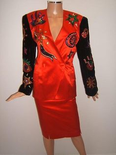 ESCADA 38 6 Rare SEQUINS 80's SUN MOON STARS Red Jacket Skirt Vintage Suit #ESCADA #SkirtSuit