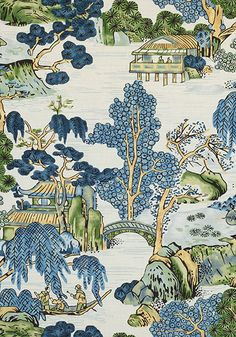 Asian Scenic - Blue/Green fabric, from the Dynasty collection by Thibaut Chinoiserie Fabric, Chinoiserie Wallpaper, Chinoiserie Chic, Fabric Wallpaper, Room Wallpaper, Wallpaper Ideas, Blue And Green Curtains, Blue And Green Living Room, Green Fabric