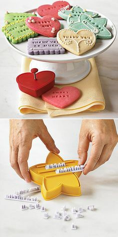 """""""Message on a Cookie"""" Text Stamp and Cookie Cutter Set. Would be fun to have cookies with something cute on them at the dessert table. Cupcakes, Cookie Cutter Set, Cookies Et Biscuits, Owl Cookies, Heart Cookies, Sugar Cookies, Kitchen Gadgets, Kitchen Tools, Cooking Gadgets"""