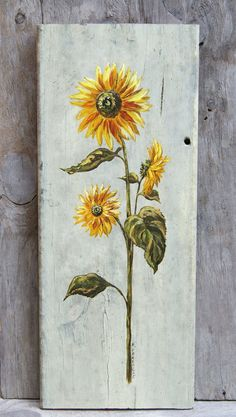 Sunflower Painting Original Acrylic on Vintage by HollyFerencze