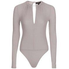 TopShop Long Sleeve Keyhole Rib Bodysuit ($38) ❤ liked on Polyvore featuring intimates and shapewear