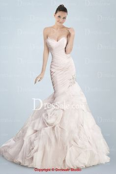 Romantic Strapless Organza Mermaid Wedding Garment Featuring Asymmetrical Pleats and Beaded Appliques