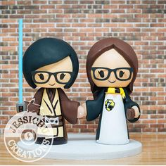 Jedi & Hufflepuff Wedding Cake Topper - Harry Potter, Star Wars, Disney, Game, Jedi, HP, Hogwarts, Always, Gay Couple, Love Wins, Brides