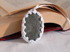 Crochet Stone Necklace White Crochet Jewelry  by MonstersNight, $12.00