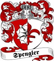 Spengler family crest / coat of arms from www.4crests.com #coatofarms #familycrest #familycrests #coatsofarms #heraldry #family #genealogy #familyreunion #names #history #medieval #codeofarms #familyshield #shield #crest #clan #badge #tattoo