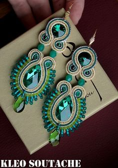 Green, gold and teal earrings Denim Earrings, Beaded Earrings, Fashion Earrings, Green Earrings, Shibori, Handmade Necklaces, Handmade Jewelry, Passementerie, Bohemian Bracelets