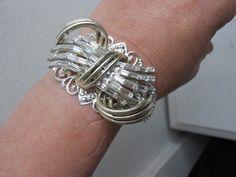 Modern bow  rhinestone bracelet upcycled ooak by 2007musarra, $42.99