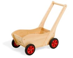 Durable push cart, constructed of hardwood to withstand years of intense and varied play by toddlers.
