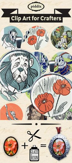 This digital collage sheet is made from stunning, crisp woodblock prints scanned directly from a 100-year-old copy of the Wizard of Oz. Ive restored each one to make the images really pop.  Image size: 1.5 inch circles (38 mm)  Piddix has been providing the best quality, top selling printables for nearly 10 years on etsy. Our collage sheets are perfectly sized for jewelry and all kinds of crafts, and thoroughly researched for copyright so you can safely use them in any of your creations…