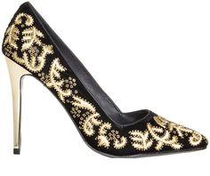 Dina Brocade Embroidery Velvet Heel