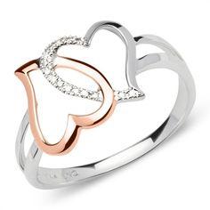 Diamantring Herzen 585 Weißgold 0,042 ct gesamt DR0038 http://www.thejewellershop.com/ #weißgold #ring #diamantring #diamonds #ringe #jewelry #schmuck #gold #hearts #herzen #rosé