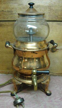 Antique General Electric GE Brass Copper & Glass Coffee Percolator c.1908