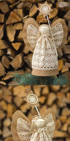 Christmas Angel Tree Topper, Burlap Christmas Ornaments, Holiday Centerpiece, Christmas Gift by suzette Burlap Christmas Ornaments, Angel Christmas Tree Topper, Christmas Angels, Christmas Tree Decorations, Handmade Christmas, Christmas Crafts, Crochet Ornaments, Crochet Snowflakes, Crochet Christmas