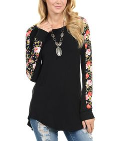 999bc3ab68 Another great find on  zulily! Black Floral-Sleeve Tunic  zulilyfinds  Floral Sleeve