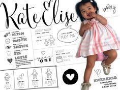 8x10 custom designed one year baby by poppydesignsboutique on Etsy