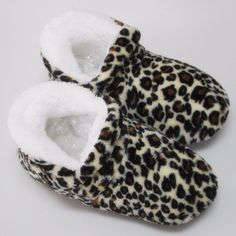 100% Real Picture Winter Women High-top Cotton Slippers Warm Plush Leopard Indoor Shoes Non-slip Soft Bottom Home Floor Slippers