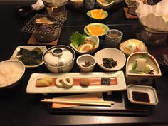 The breakfast at Mansuiro japanese hotel in Misasa hot springs Tottori prefecture