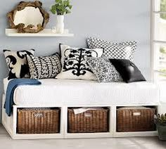Pottery barn daybed but could do smaller homemade version with a crib matress and bookshelf
