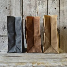 Trio of The Marlowe Lunchbags, waxed canvas..