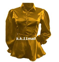 Satin Victorian shirt for women Shirt Boho Gold color shirt Puff Sleeve Half Sleeve Shirts, Half Sleeves, Grey Colour Shirt, Victorian Shirt, Satin Shirt, Long Blouse, Blouse Designs, Shirt Blouses, Casual Wear