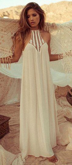 White Patchwork Lace Hollow-out Loose Chiffon Dress - Maxi Dresses - Dresses