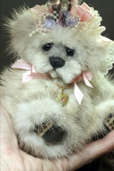 "Sable Mink Fur Teddy Bear ALWAYS made from recycled fur. (jackets)  Mitsey 5"" inches tall and fully jointed http://www.ebay.com/itm/OOAK-SABLE-MINK-FUR-TEDDY-BEAR-ARTIST-ORIGINAL-KIMBEARLYS-/121534625520?ssPageName=STRK:MESE:IT"