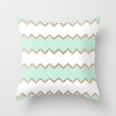 AVALON SEAGREEN Throw Pillow by Monika Strigel - $20.00 0 #glitter #sparkle #chevron #stripes #coral #mint #seagrreen #white #nude #teal #brown #beige #green #sofa #beachhouse #girlsroom #teenbedding