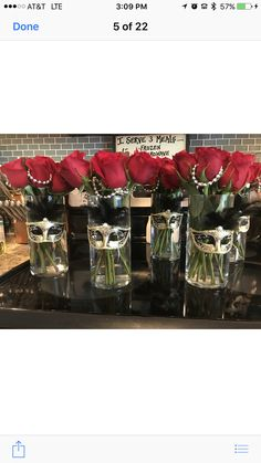 50 Shades of Grey Party Center Pieces. Mask from amazon, dollar store vases...