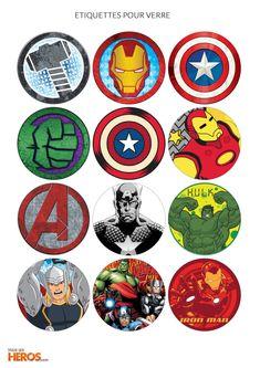 Anniversaire Avengers : étiquettes p our verres
