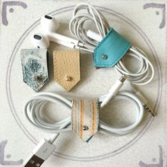 Leather Earphone Cords and Cable Tidy Organisers, Sets of Two or Four