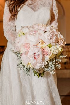 A blushing bouquet for a lovely blushing bride! Pink peonies and silver lace! #1 stunner! Photo Credit: The Kenney's