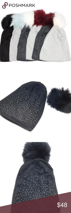 Jeweled Jersey Hats with Removable Fox Pom In Many Stay warm in style with this soft cashmere hat topped with a removable Genuine Fox Fur Pom Pom.  -100%Cotton -Genuine Fox Fur -Made in China -Hat is machine washable Accessories Hats